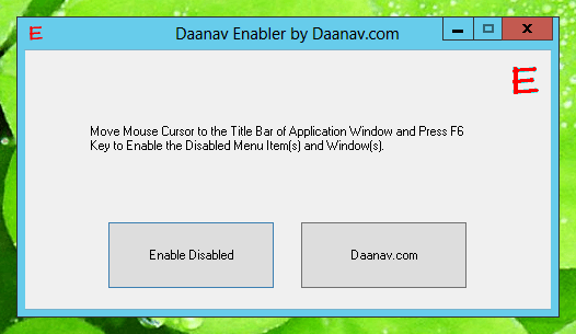 Daanav Enablerto Enable Disabled Windows and Menu Items