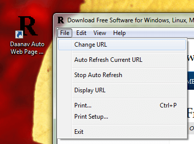 Desktop Shortcut and Menu of Auto Web Page Refresh Software