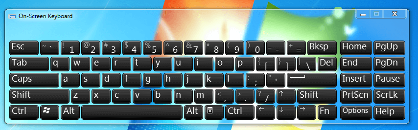 OnScreen Keyboard of Windows 7