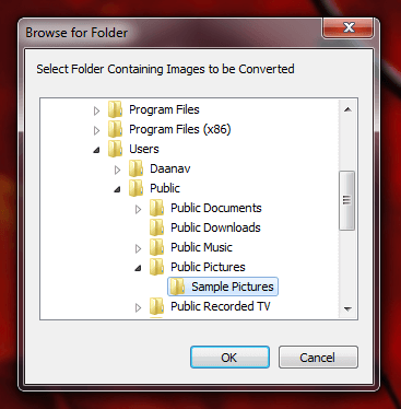 Select Folder Containing Images to be Converted