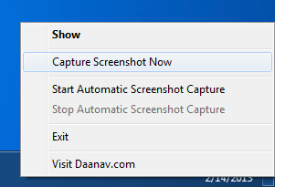 System Tray Menu of Automatic Screenshot Capture Software Utility