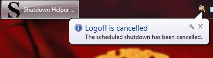 Windows Shutdown Aborted Information Message