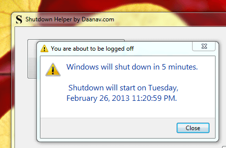 Windows Shutdown Information Message