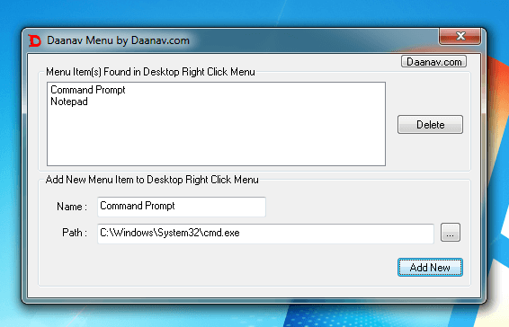 Desktop Menu Software with Menu Items Added to the Desktop Menu