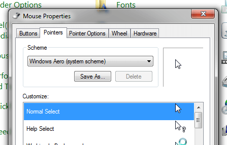 Mouse Properties from Windows Control Panel