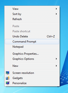 Right Click Menu of Desktop with Extra Menu Items Added