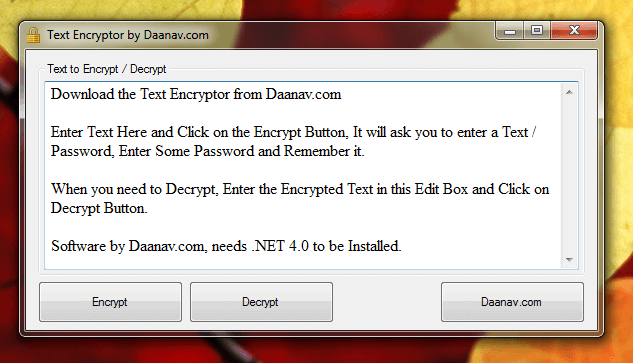 Screenshot of Text Encryption Software 1.0