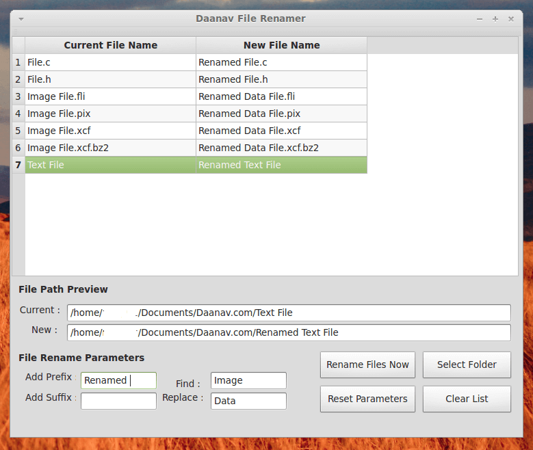 Linux File Renamer running on Linux Mint