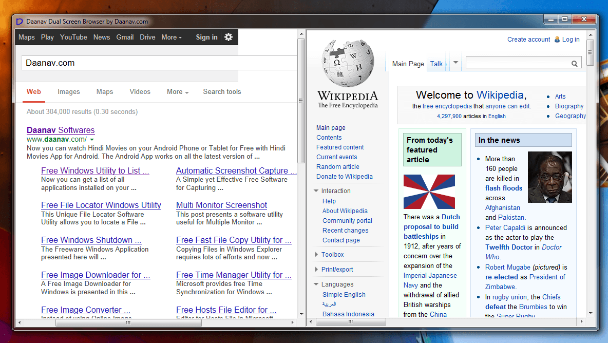 Dual Screen Browser