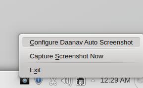 System Tray Menu of Linux Auto Screenshot Utility