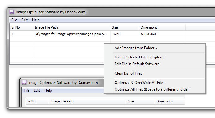 Image Optimizer with Image Loaded to Optimize
