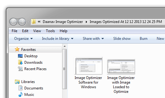 Images Optimised with Image Optimizer in Windows Explorer