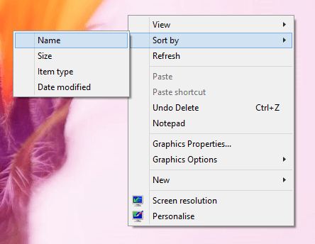 Sort Desktop Icons with Desktop Right Click menu