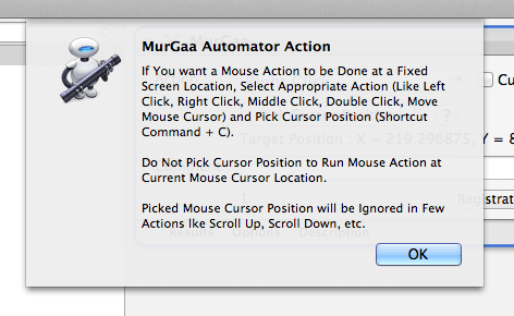 Mouse Clicking Automator Action Help
