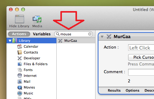 Mouse Clicking Action in Automator Library