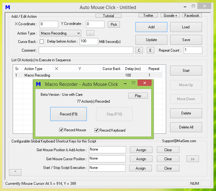 Record and Playback Keyboard and Mouse Actions