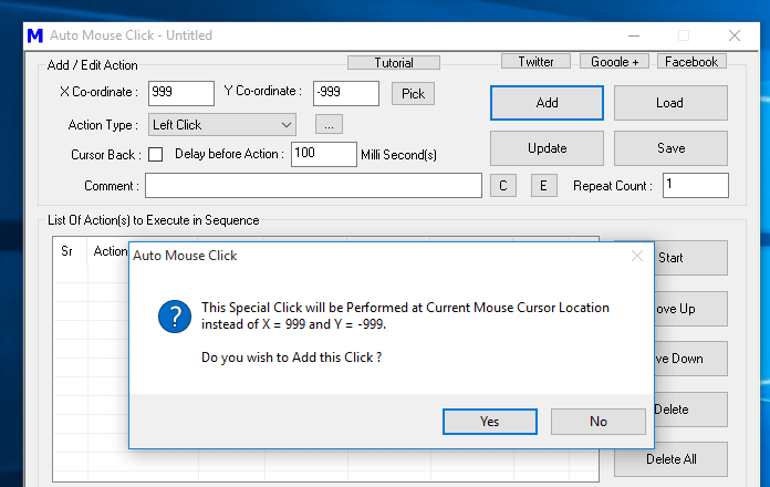 Add Mouse Click at Current Mouse Cursor Location in Auto Mouse Click Script