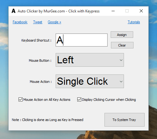 Auto Click by Holding a Key Down