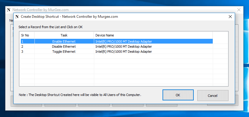 Create Desktop Shortcut to Enable or Disable Network Adapter