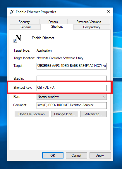 Keyboard Shortcut to Enable Network Connection