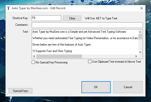 Keypress Simulation Mode in Auto Typer Software