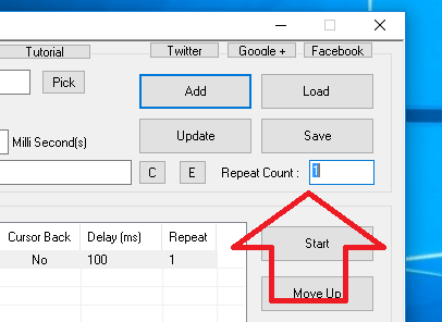 Repeat All Script Actions of Auto Mouse Click with Repeat Count