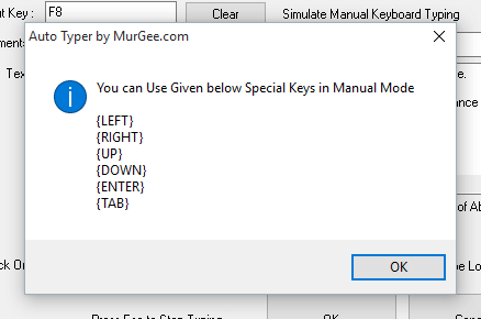 Special Keys in Automated Manual Typing Mode