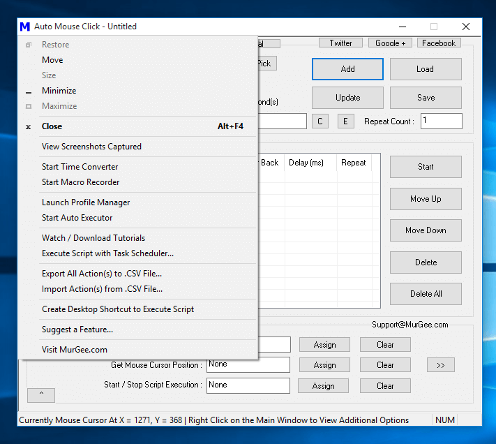 System Menu of Auto Mouse Click Offering Extra Features