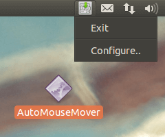 System Tray Menu of Linux Mouse Mover to Keep Linux Active