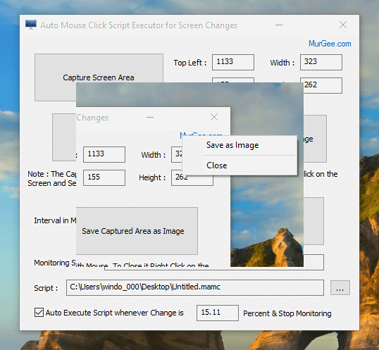 View Screen Area to Monitor for Changes or Save as an Image