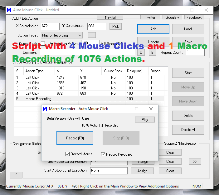 Macro Script with Automatic Mouse Clicks and a Macro Recording
